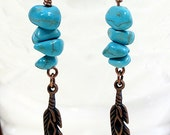 Turquoise Dangle Earrings with Antique Brass Feather Charms Southwestern Inspired