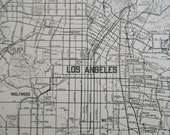 Los Angeles Street Map, Vintage 1938 City map from an antique Atlas