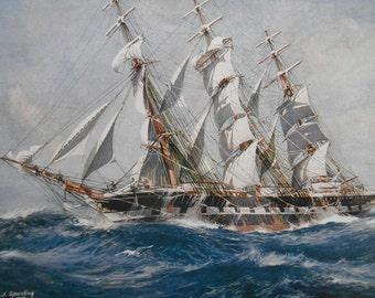 Nautical Art, Clipper Ship Hesperus,  Vintage 1940 Sailing Ship bookplate
