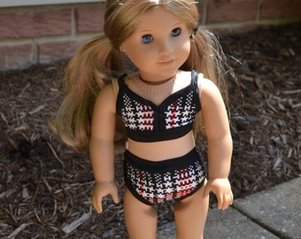 18 inch Doll Clothes - Black Plaid Two piece - RED BLACK WHITE - Swim Wear  Swim Suit - bathing suit - summer style - fits American Girl