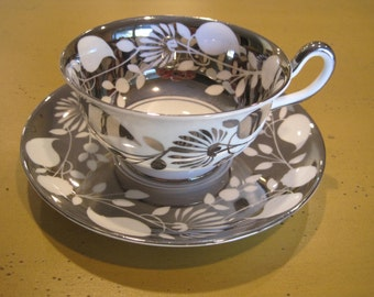 Vintage Royal Chelsea silver Luster Cup and Saucer