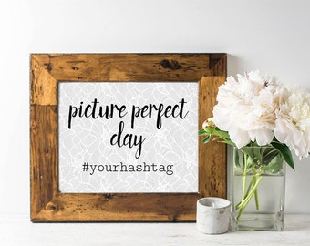 Wedding Hashtag Sign - Wedding Signage - Rustic Wedding Sign - Lace Wedding Decor - Gray Wedding - Custom Hashtag Sign for Wedding - Printed