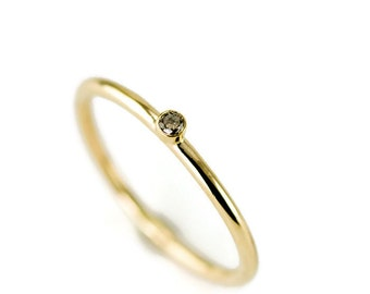Champagne Diamond Ring in 14k Gold - Yellow, White or Rose Gold - 2 mm Top Light Brown Diamond Solitaire