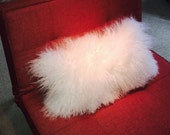 Mongolian Fur Pillow ~ Snow White Fur Pillow ~ Genuine Mongolian Lamb ~ Mongolian Fur Accent Pillow ~ Plush - Mongolian Fur Lumbar Pillow