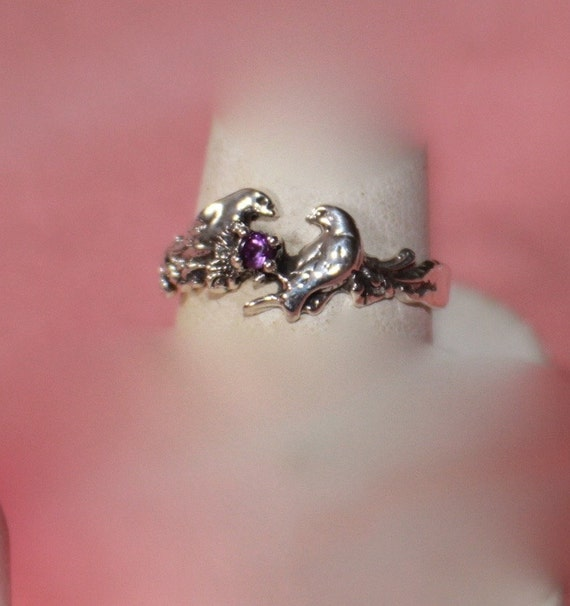Sterling Silver Lovebirds Ring with Amethyst Size 7 reserved for Laurinda