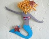 Metal mermaid wall art - Fern- handmade recycled metal wall sculpture bathroom decor kids room turquoise
