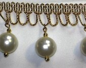 Pearl Beaded Fringe Trim Metallic Gold Bead Fringe Trim Renaissance Trim Victorian Fringe SCA Trim  1.5 inch x 4 Yards (2pc each 2 yds)