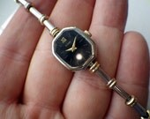 Pulsar Ladies Two Tone Watch - Black Dial.
