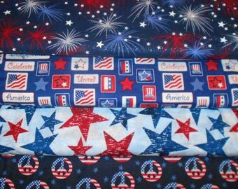 PATRIOTIC #1  Fabrics, Sold INDIVIDUALLY not as a group, by the Half Yard