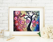 Whimsical Swirl Tree Wall Art Print, Tree of Life Red Bird Art, Pink Lollipop Flowers Signed Print