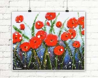 Flower Art Print, Red Poppy Print Wall Decor, Summer Decor, Red Flower Art Living Room Decor