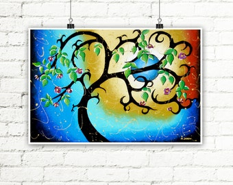 Blue Print Tree Art Wall Decor, Full Moon Landscape Art Print, Surreal Art Home Decor