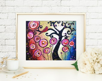 Whimsical Swirl Tree Wall Art Print, Tree of Life Red Bird Art, Pink Lollipop Flowers Signed Print