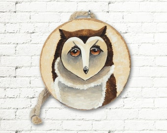 Owl Ornament, Woodland Ornament, Rustic Ornament, Brown Owl Decor Handpainted Ornament, Owl Decoration with Gift Box