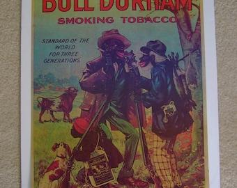 Vintage Black Americana Bull Durham Tobacco Advertising Poster, 18 x 25.5