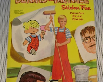 "Rare Vintage Retro 1961 Dennis the Menace ""Sticker Fun"" Coloring Book with Cut-outs"