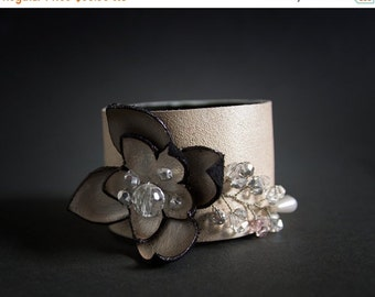 50% OFF SALE Off white elegant leather and beads floral cuff bracelet