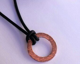 Leather necklace with hammered copper washer pendant