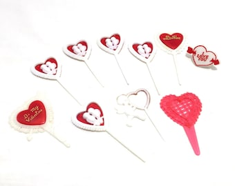 Valentine's Day Heart Picks, Heart Cupcake Picks, Valentine's Cupcake, Valentine's Day Baking Supplies, Red Valentine Heart Decorations