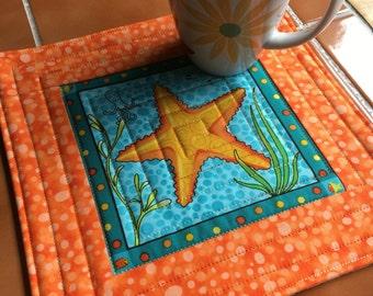 Gone Fishing by Benartex - Starfish ocean scene - Mug Rug or Candle Mat  Oversized Coaster