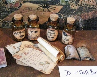 Dollhouse apothecary bottles, Wizard potions, Harry Potter,  Witch spells, poison bottles, dollhouse wizard , Wiccan, Tudor,  twelfth scale,