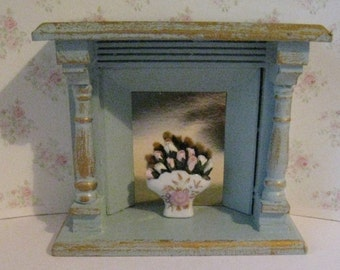 Dollhouse Fireplace,  duck egg blue fireplace, fireplace,  a dollhouse miniature in twelfth scale