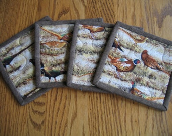 Quilted Coaster is Pheasants - Set of 4
