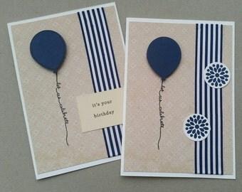 Set of 2 handmade cards with envelopes - navy balloons & ribbon