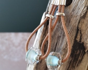 Leather and Sterling Silver Earrings with Pale Teal Glass Bead 166e