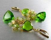 25% Off Summer Sale Peridot Quartz With Ethiopian Opal and Peridot Gold Filled Cluster Earrings