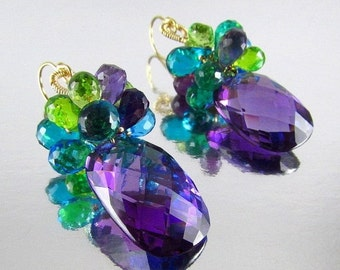 End Of Summer Sale Colorful Amethyst, Peridot and Quartz Gemstone Lux Earrings