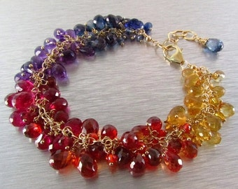 BIGGEST SALE EVER Colorful Quartz Gemstone Bracelet With Gold Filled