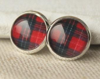 Scottish earrings, Red Tartan Earrings, Plaid Earrings choose STUDS or CLIP Earrings Scottish Jewelry handmade earrings, choose metal  E414