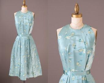 Phoebe's Dynasty Dress   1960s silk satin dress   60s cocktail dress   seafoam satin dress