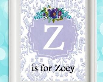 Personalized Nursery Print, Baby Girl Nursery Wall Decor, Custom Baby Gift, Nursery Art, Child Wall Art, Floral Monogram, Lavender Lilac Art
