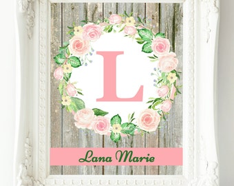 Baby Girl Nursery Wall Art, Custom Name Print, New Baby Gift, Mint Pink Nursery Decor, Wall Art Girl, Personalized Baby, Floral Letter Art