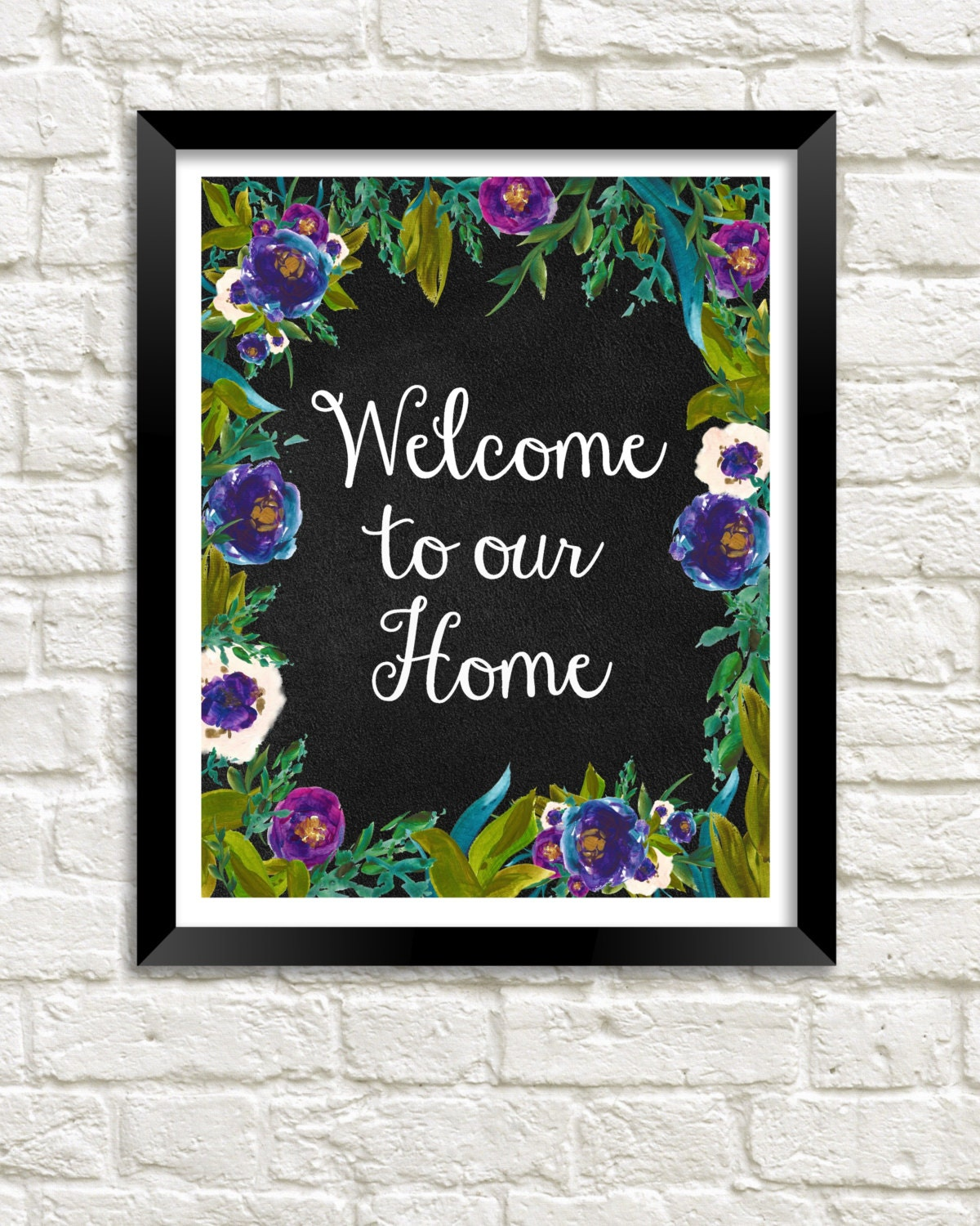 Welcome To Our Home: Welcome To Our Home Printable Instant Download Watercolor