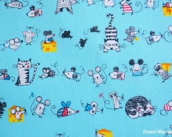 Kawaii Japanese Fabric - Cats & Rattus on Blue - Fat Quarter (ta20160427)
