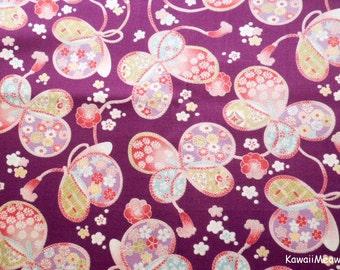Japanese Kimono Fabric - Sakura Ribbon Butterfly on Purple - Half Yard (ki151221)