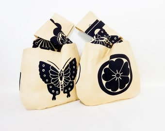 Japanese Knot Bags, Wristlet, Clutch, Mini Handbag, Project Bag, Knitting Bag, Bag, Pouch, Fabric Pouch, Butterflies or Flowers in Black