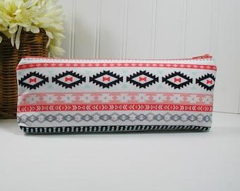 Bright Aztec Long Zipper Pouch, Long Zipper Pouch, Pencil Pouch