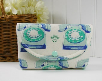 Snap Pouch, Large Snap Pouch, Cosmetic Pouch ... Trinket Telephone in Aqua