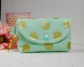 Small Snap Pouch with Gold Clip... Glitz Metallic Gold in Mint