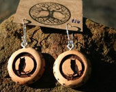 Juniper Wood  OWL Earrings- - Wooden Jewelry, Boho Jewelry