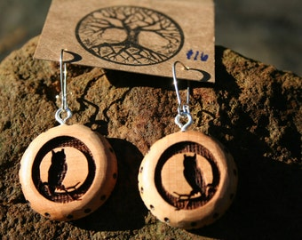 Juniper Wood  OWL Earrings- - Wooden Jewelry, Boho Jewelry
