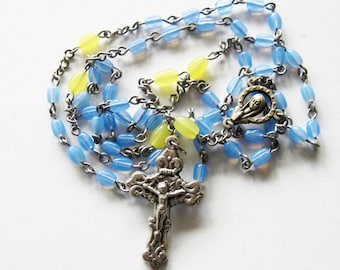 Blue and Yellow Glass Rosary