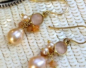 CUPID SALE xOx Peach Pearl Earrings, Wire Wrapped Cluster Earrings, 14kt Gold Fill, Pink Chalcedony, Peach Moonstone, Peach Ethiopian Opal,