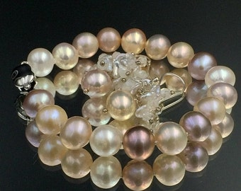 SALE Wedding Jewelry,  Pearl Bracelet Cluster Earrings Ivory Blush Wedding Jewelry Peach Pearl Bridal Set Hand Knotted Pearls Layering Brace