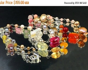30% SALE Colorful Long Wire Wrapped Gemstone Pearl Necklace Sterling Silver Sautoir Summer Fashion Rosary Style Watermelon Tourmaline Gem