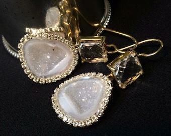 Tabasco Geode Druzy Earrings Ivory White Slice Dangle Earrings Pave Diamond Look Beach Wedding Jewelry Celebrity Style - Caroline